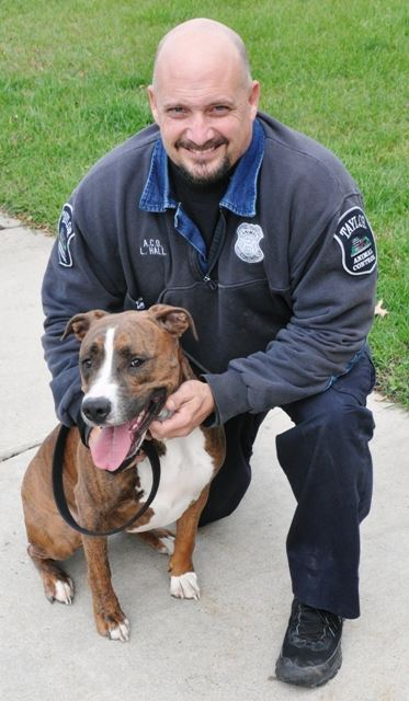 A man smiling with a brown dog on leash.