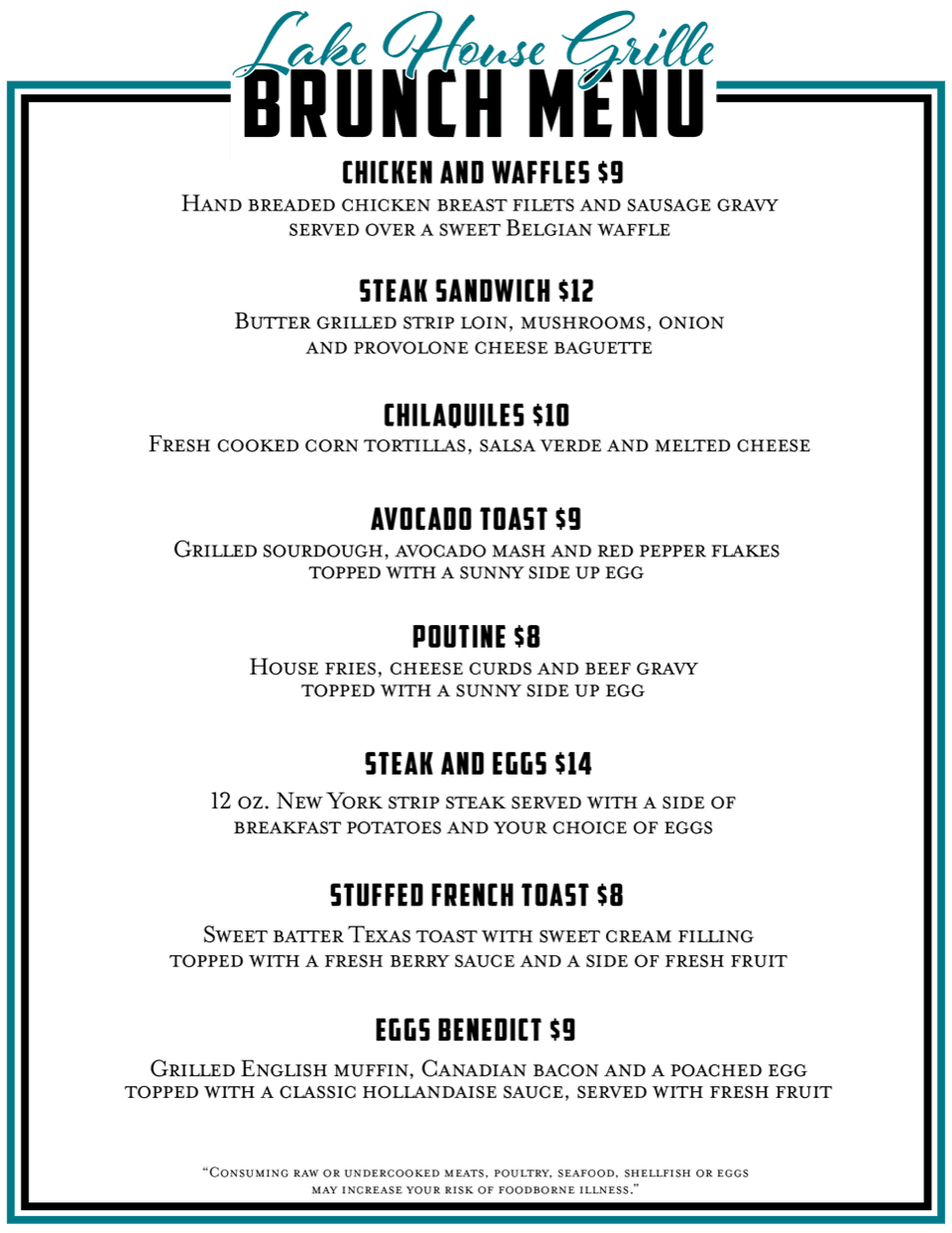 Lakes Brunch Menu Spring 19